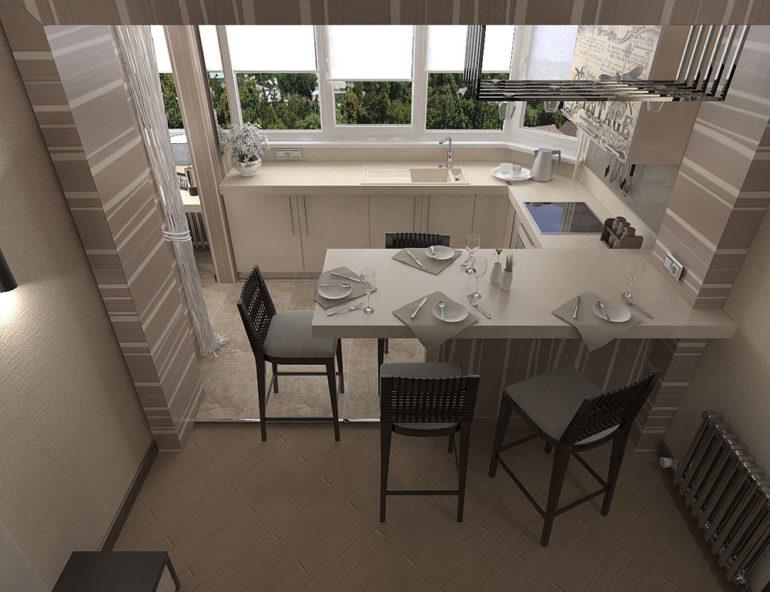 вынос рабочей зоны кухни на балкон